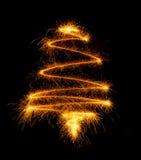Рождественская елка сделанная бенгальским огнем на черноте Стоковое Изображение RF