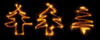 Рождественская елка 3 сделанная бенгальским огнем на черноте Стоковые Изображения RF
