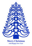 Рождественская елка сделанная из бумаги травы - синей Стоковая Фотография