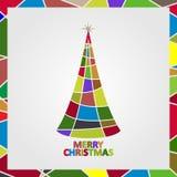Рождественская елка сделанная мозаики с звездой и текстом с Рождеством Христовым Стоковая Фотография RF