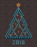 Рождественская елка с звездой и шариками золота стилизованной Стоковое Изображение