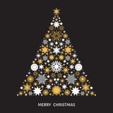 Рождественская елка с золотом и белыми снежинками, элементами xmas Стоковое Изображение RF