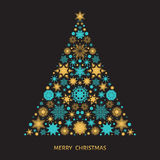 Рождественская елка с картиной золота от снежинок и Xmas Стоковая Фотография