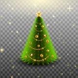 Рождественская елка с красочными безделушками и золото играют главные роли на верхней части на прозрачной предпосылке также векто Стоковая Фотография