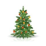 Рождественская елка с орнаментами и гирляндой бесплатная иллюстрация