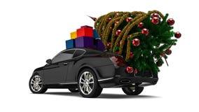 Рождественская елка с роскошным автомобилем бесплатная иллюстрация