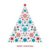 Рождественская елка с снежинками, элементами xmas и украшениями Стоковая Фотография