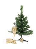 Рождественская елка с стеклами шампанского. Стоковое фото RF