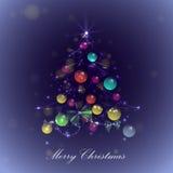 Рождественская елка с шариками и светами, Стоковое Изображение RF