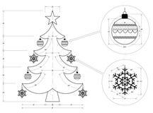 Рождественская елка Blueprin Стоковые Фото