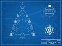 Рождественская елка Blueprin Стоковые Изображения