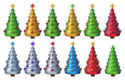 Рождественская елка 3D установила 3 Стоковые Фото