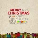 Рождественская открытка винтажного ретро плоского стиля ультрамодная с Рождеством Христовым Стоковые Фотографии RF