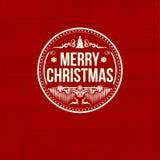 Рождественская открытка винтажного ретро плоского стиля ультрамодная с Рождеством Христовым Стоковая Фотография