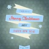Рождественская открытка винтажной ленты с Рождеством Христовым Стоковое фото RF