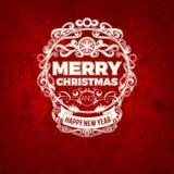 Рождественская открытка винтажной ретро усадьбы вектора ультрамодная с Рождеством Христовым Стоковое Изображение RF