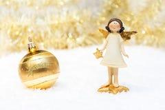 Рождественская открытка в цвете золота Стоковое фото RF