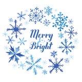 Рождественская открытка зимы акварели Стоковое фото RF