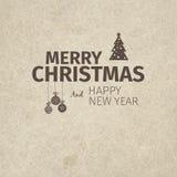 Рождественская открытка и Новый Год винтажного ретро плоского стиля ультрамодная с Рождеством Христовым желают приветствие Стоковая Фотография