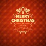 Рождественская открытка и Новый Год винтажного ретро плоского стиля ультрамодная с Рождеством Христовым желают приветствие Стоковое Изображение