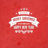 Рождественская открытка и Новый Год винтажного ретро плоского стиля ультрамодная с Рождеством Христовым желают приветствие Стоковая Фотография RF