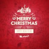Рождественская открытка и Новый Год винтажного ретро плоского стиля ультрамодная с Рождеством Христовым желают приветствие Стоковые Фотографии RF