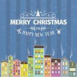 Рождественская открытка и Новый Год винтажного ретро плоского стиля ультрамодная minimalistic с Рождеством Христовым желают приве Стоковые Фотографии RF
