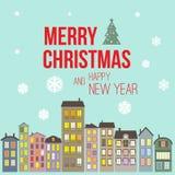 Рождественская открытка и Новый Год винтажного ретро плоского стиля ультрамодная minimalistic с Рождеством Христовым желают приве Стоковое Изображение