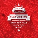 Рождественская открытка и Новый Год винтажной ретро усадьбы ультрамодная с Рождеством Христовым желают приветствие Стоковые Изображения RF