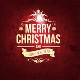 Рождественская открытка и Новый Год винтажной ретро усадьбы ультрамодная с Рождеством Христовым желают приветствие Стоковые Изображения