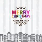 Рождественская открытка и приветствия Нового Года Стоковые Фотографии RF