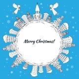 Рождественская открытка Нового Года Планета с деревьями и домами Стоковое Изображение RF