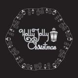 Рождественская открытка падуба весёлая Фонарики и рукописные слова иллюстрация вектора