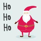 Рождественская открытка поздравлению с Сантой Printable шаблон Стоковые Изображения