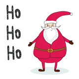 Рождественская открытка поздравлению с Сантой Printable шаблон Стоковая Фотография RF
