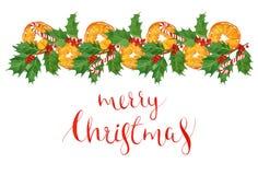 Рождественская открытка приветствию акварели с традиционными элементами праздника апельсины, листья падуба и ягоды, нарисованная  Стоковое Изображение