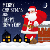 Рождественская открытка при Санта Клаус стоя на крыше Бесплатная Иллюстрация