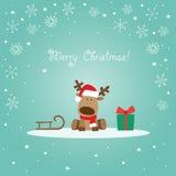Рождественская открытка северного оленя зеленая Стоковое фото RF