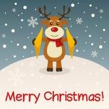 Рождественская открытка северного оленя с Рождеством Христовым Стоковые Изображения