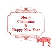 Рождественская открытка северного оленя Стоковые Фотографии RF