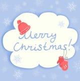 Рождественская открытка с аксессуарами зимы Стоковые Фотографии RF