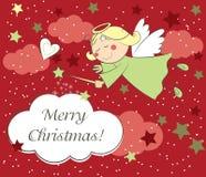 Рождественская открытка с ангелом бесплатная иллюстрация