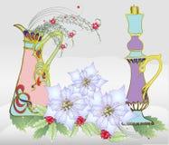 Рождественская открытка с белыми Poinsettia и вазой Стоковое фото RF