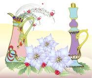 Рождественская открытка с белым Poinsettia иллюстрация вектора