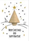 Рождественская открытка с бумажным деревом Стоковая Фотография RF