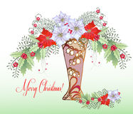 Рождественская открытка с вазой и букетом бесплатная иллюстрация