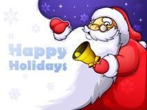 Рождественская открытка с весёлым Сантой и огромной бородой Стоковые Изображения RF