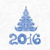 Рождественская открытка с декоративными диаграммами и деревом xmas Стоковое Изображение