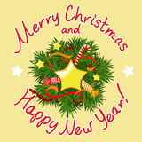 Рождественская открытка с декоративным венком Стоковые Фотографии RF