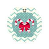 Рождественская открытка с лентой и 2 тросточками конфеты Стоковая Фотография RF